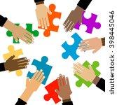 diversity hands puzzle... | Shutterstock .eps vector #398445046