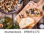 bruschetta with fried mushrooms ... | Shutterstock . vector #398451172