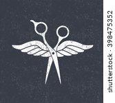 beauty salon logo. scissors... | Shutterstock .eps vector #398475352
