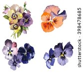 design set with pansies flowers ... | Shutterstock . vector #398478685