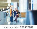 young woman in international... | Shutterstock . vector #398509282