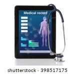medical tablet with stethoscope ... | Shutterstock . vector #398517175