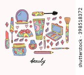 hand drawn make up vector set....   Shutterstock .eps vector #398518372