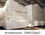 sugar in a warehouse. bags of... | Shutterstock . vector #398522662