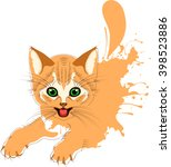 ginger cat grunge  cheerful... | Shutterstock .eps vector #398523886