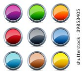 set of 9 glossy round buttons... | Shutterstock .eps vector #39853405