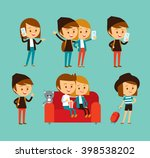 cute people at the simple style ... | Shutterstock .eps vector #398538202