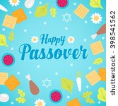 passover greeting card with... | Shutterstock .eps vector #398541562