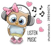 Cute Cartoon Owl Girl With...
