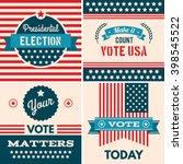 american election badges and... | Shutterstock .eps vector #398545522