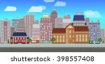 city game background 2d game...   Shutterstock .eps vector #398557408