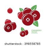 cranberry. icon set. fresh... | Shutterstock .eps vector #398558785