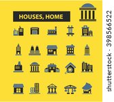 houses  home icons  | Shutterstock .eps vector #398566522