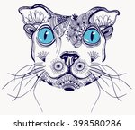 vector cat with  floral doodle... | Shutterstock .eps vector #398580286