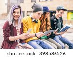 multiethnic group of friends... | Shutterstock . vector #398586526