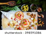 delicious bruschetta with... | Shutterstock . vector #398591086