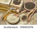 sesame oil with sesame seed   Shutterstock . vector #398603296