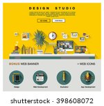 flat web design template of one ... | Shutterstock .eps vector #398608072
