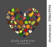 hand drawn fruits in heart... | Shutterstock .eps vector #398619946