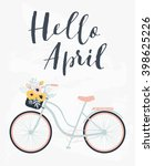 cute spring floral card... | Shutterstock .eps vector #398625226