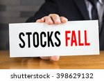 stocks fall  message on white... | Shutterstock . vector #398629132