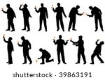 man with glass drinking...   Shutterstock .eps vector #39863191