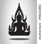 buddha silhouettes on the white ... | Shutterstock .eps vector #398632882