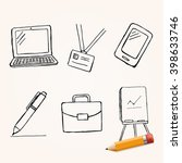 vector set of hand drawn office ... | Shutterstock .eps vector #398633746