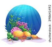undersea world. marine flora on ... | Shutterstock .eps vector #398641492