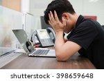 close up young asian man stress ...   Shutterstock . vector #398659648