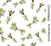 spring branches with leaves and ... | Shutterstock .eps vector #398664412