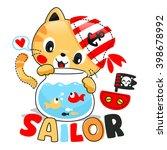 cute cartoon cat looking fish... | Shutterstock .eps vector #398678992