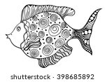 hand drawn vector fish with... | Shutterstock .eps vector #398685892