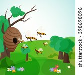 bees fly to the hive on a... | Shutterstock . vector #398698096