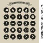 25 hand stitch border vintage... | Shutterstock .eps vector #398705275