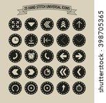25 hand stitch border vintage... | Shutterstock .eps vector #398705365
