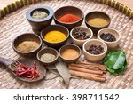mix asian herbs in the wood... | Shutterstock . vector #398711542