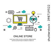flat line design  e commerce... | Shutterstock .eps vector #398719522