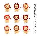 cute lion vector collection.... | Shutterstock .eps vector #398720362