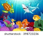 cartoon tropical fish and... | Shutterstock .eps vector #398723236