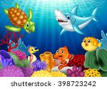 cartoon tropical fish and... | Shutterstock . vector #398723242