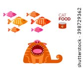 Cat Fantasy About Fish. Vector...