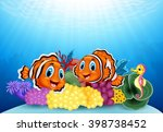 cartoon clown fish and seahorse ... | Shutterstock .eps vector #398738452
