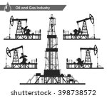 set of oil pumps and drilling...   Shutterstock .eps vector #398738572