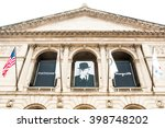Small photo of CHICAGO, UNITED STATES - AUGUST 23, 2014: Facade of the Art Institute of Chicago, is an encyclopedic art museum located in Chicago's Grant Park at South Michigan Avenue.