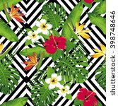 tropical flowers and leaves on... | Shutterstock .eps vector #398748646