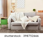 couch in interior of living... | Shutterstock . vector #398752666