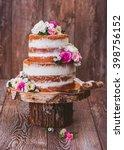 homemade wedding naked cake ... | Shutterstock . vector #398756152