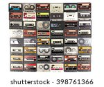 collection of audio cassettes... | Shutterstock . vector #398761366