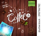 coffee text  leaves  banners ... | Shutterstock .eps vector #398786782